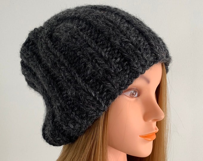 FREE SHIPPING Oversized Cable Beanie Hat Crochet Knit Handmade Wool Acrylic Blend Unique Designer Unisex Adult Dark Gray Bulky Slouchy
