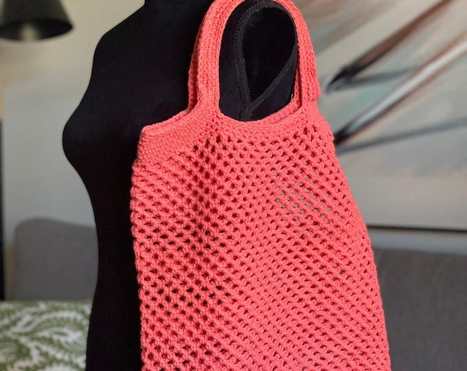 Tote Bag Purse Supermarket Shopper Handbag Crochet Large Cotton Reusable Grocery Salmon Peach