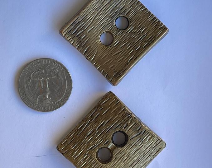 Vintage Plastic Bronze Brown Large Oversized Buttons Set of 2 Lot Square Flat