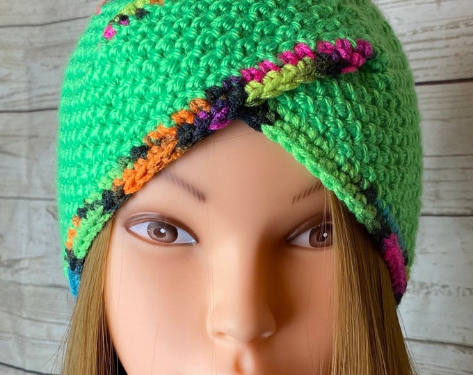 Knitted Ear Warmer Headband Winter Handmade Multicolor Rainbow Head Band Ski Yoga Twisted Wrap Headwarmer Crochet Boho Rainbow Free Shipping