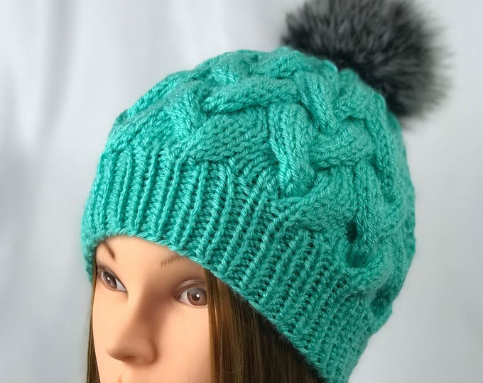 Handmade Knitted Crochet Slouchy Beanie Real Fox Fur Pompom Hat Unisex Cable Braid Knit Unique Winter Acrylic Designer Unique Teal Blue