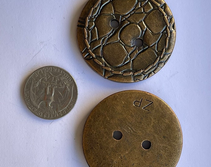 Vintage Plastic Bronze Brown Large Oversized Buttons Set of 2 Lot Round Flat