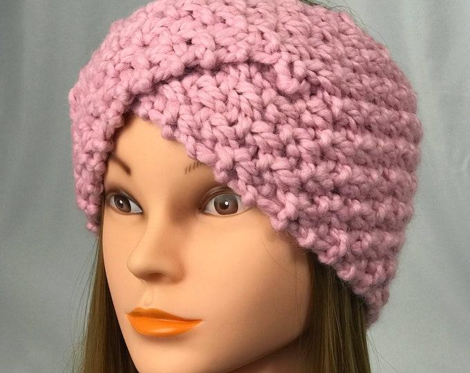 Knitted Ear Warmer Pink Headband Winter Handmade Twist Knit Crochet Headwrap Headwarmer Designer Unique Hat Beanie Textured Chunky Bulky