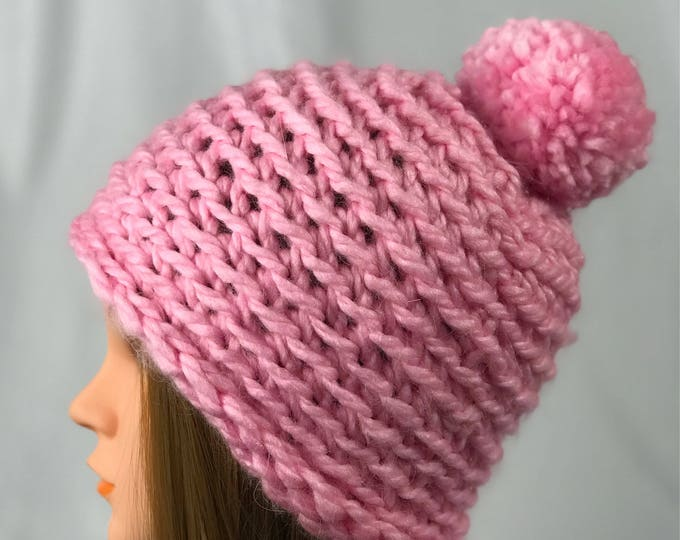Handmade Knitted Crochet Slouchy Beanie with Pompom Hat Unisex Cable Braid Knit Unique Winter Acrylic Designer Unique Soft Baby Pink