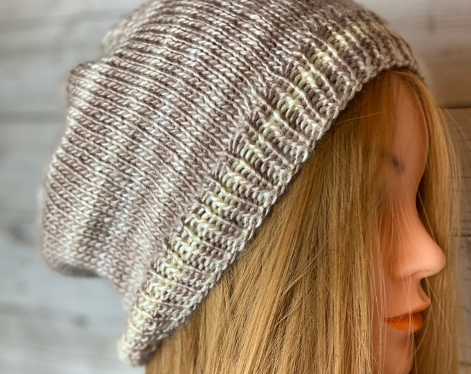 Handmade Knitted Crochet Slouchy Beanie Hat Unisex Cable Braid Knit Unique Winter Designer Unique Double Rib Acrylic Beige