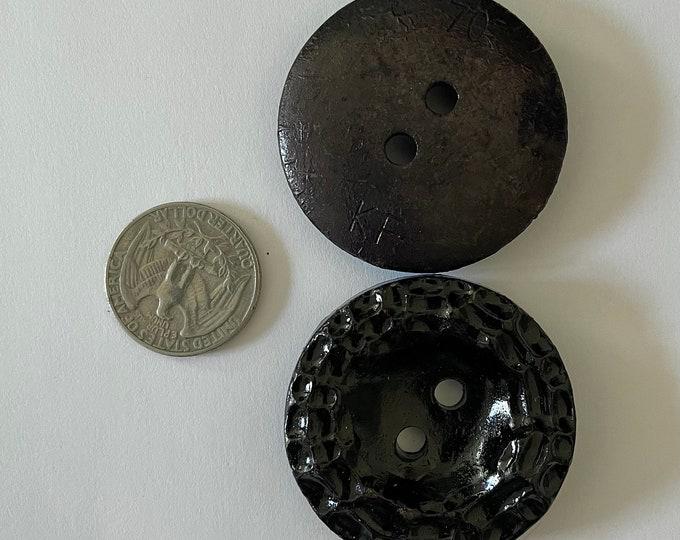 Vintage Plastic Black Large Oversized Buttons Set of 2 Lot Round Flat