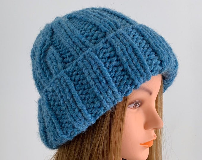 FREE SHIPPING Oversized Cable Beanie Hat Crochet Knit Slouchy Handmade Wool Acrylic Blend Unique Designer Unisex Adult Light Blue Bulky