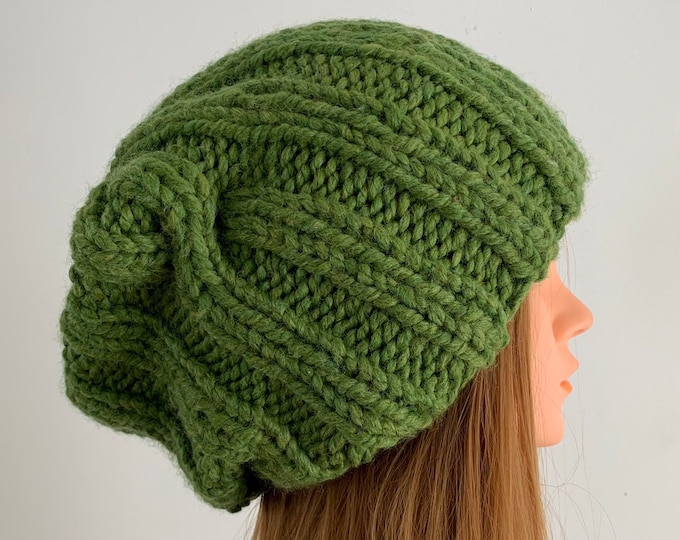 FREE SHIPPING Oversized Cable Beanie Hat Crochet Knit Handmade Wool Acrylic Blend Unique Designer Unisex Adult Green Bulky Slouchy
