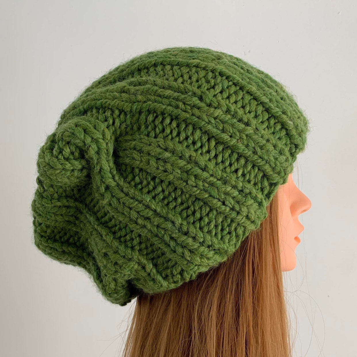 de8c367cc5c FREE SHIPPING Oversized Cable Beanie Hat Crochet Knit Handmade Wool Acrylic  Blend Unique Designer Unisex Adult Green Bulky Slouchy. gallery photo ...