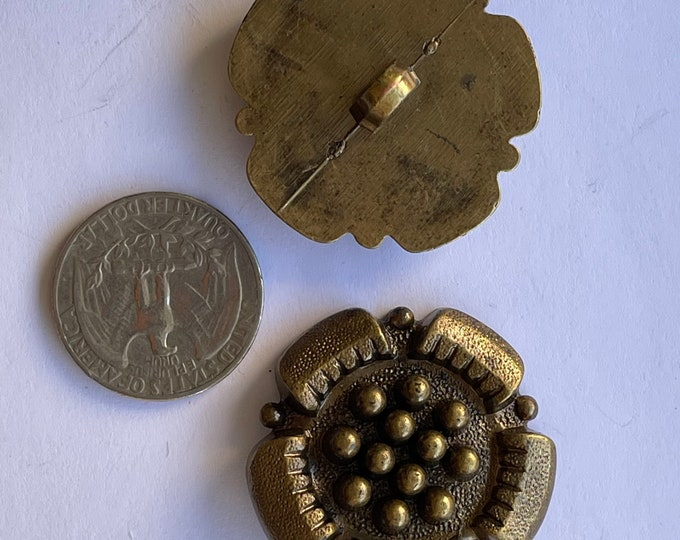 Vintage Plastic Bronze Brown Large Oversized Buttons Set of 2 Lot Round