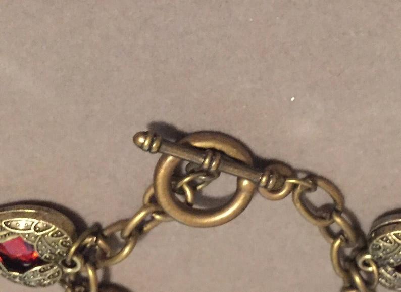 Heart Charm Bracelet Antiqued Brass   7.25
