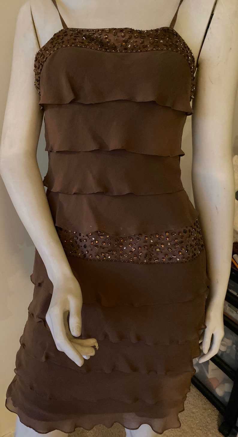 Nina Austin XS Taupe Strappy Ruffled Tiers and Jeweled Evening Dress