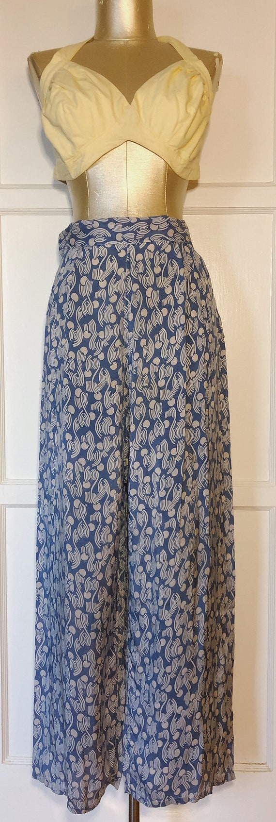 1940s Blue and White Lounge Pants
