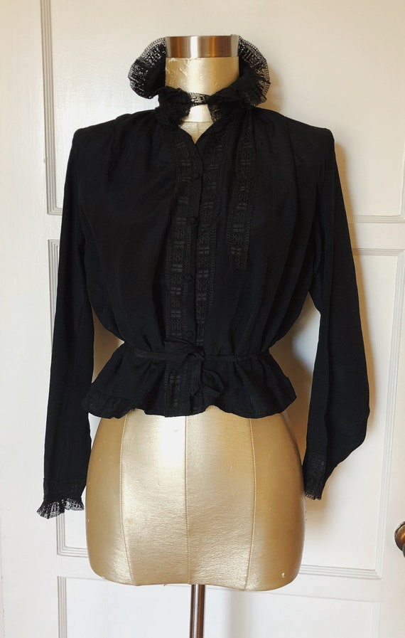 AS-IS Victorian black silk blouse with a high coll
