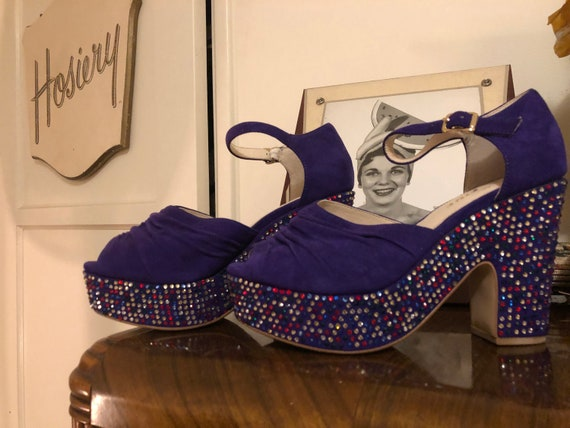 Miss L Fire  purple rhinestone platforms US 6.5