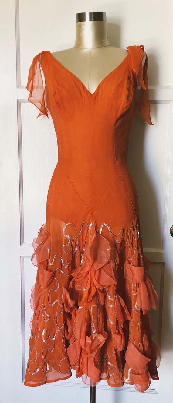1950s Showgirl Orange dress