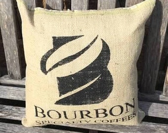 Burlap Coffee Bag Pillow with Yellow Plaid