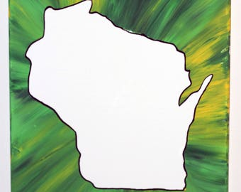 Wisconsin Flow Painting- DIY Canvas Coloring Page! For Creative Painting, Paint Parties, and Group Paintings! Adult Coloring Book Style