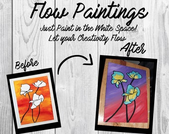 Flower Flow Painting- DIY Canvas Coloring Page! For Creative Painting, Paint Parties, and Group Paintings! Adult Coloring Book Style