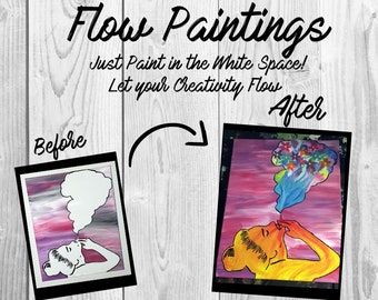 Puff Puff Pass Flow Painting- DIY Canvas Coloring Page! For Creative Painting, Paint Parties, and Group Paintings! Adult Coloring Book- 420