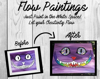 Cheshire Cat - Alice in Wonderland Flow Painting- DIY Canvas Coloring Page! For Creative Painting, Paint Parties, and Group Paintings! Color