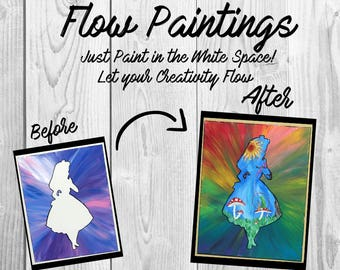 Alice in Wonderland Flow Painting- DIY Canvas Coloring Page! For Creative Painting, Paint Parties, and Group Paintings! Adult Coloring Book