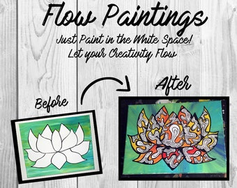 Lotus Flower Flow Painting- DIY Canvas Coloring Page! For Creative Painting, Paint Parties, and Group Paintings! Adult Coloring Book