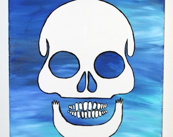 Skull Flow Painting- DIY Canvas Coloring Page! For Creative Painting, Paint Parties, and Group Paintings! Adult Coloring Book Style