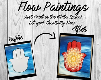 Hamsa Flow Painting- DIY Canvas Coloring Page! For Creative Painting, Paint Parties, and Group Paintings! Adult Coloring Book Style