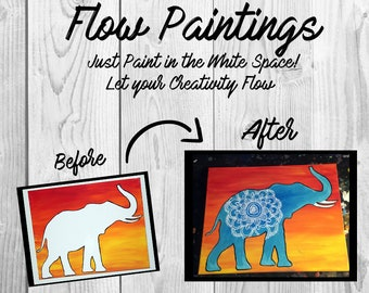 Elephant Flow Painting- DIY Canvas Coloring Page! For Creative Painting, Paint Parties, and Group Paintings! Adult Coloring Book