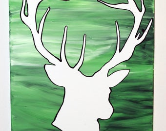 Deer Flow Painting- DIY Canvas Coloring Page! For Creative Painting, Paint Parties, and Group Paintings! Adult Coloring Book Style