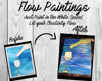 Wine Flow Painting- DIY Canvas Coloring Page! For Creative Painting, Paint Parties, and Group Paintings! Adult Coloring Book Style