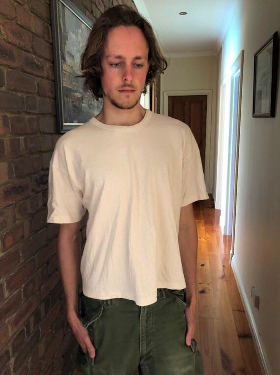Vtg organic cotton beige t shirt
