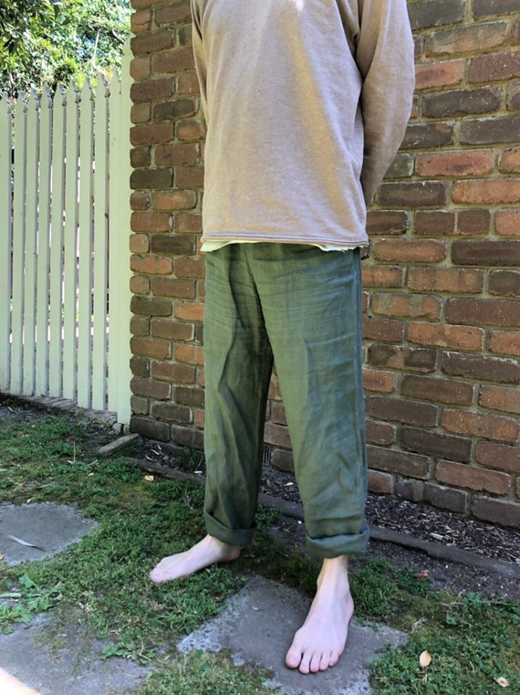 LINEN YOGA PANTS // Forest Green