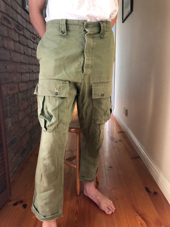 VINTAGE Military Khaki Cargo Pants