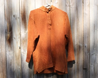 80s twill cotton long sleeve henley