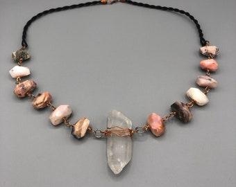 Pink Opal & Clear Quartz neclace