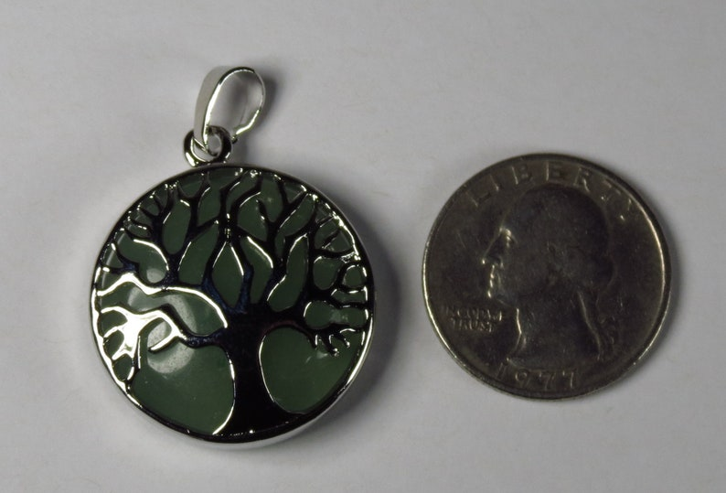 Green Aventurine Tree of Life pendant with natural green gemstone #GPEN-215