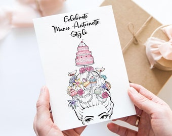 Set of 2 cards with Marie Antoinette print | Birthday card | celebration | handpainted with watercolor | pastel cake, macarons and cocktails