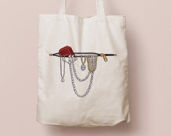 Shopping bag with jewelry print, organic cotton | Canvas tote with necklaces, bracelets, diamonds and Cartier box