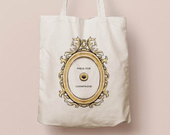 Press for Champagne shopping bag | organic cotton tote bag with bell print | canvas shopper