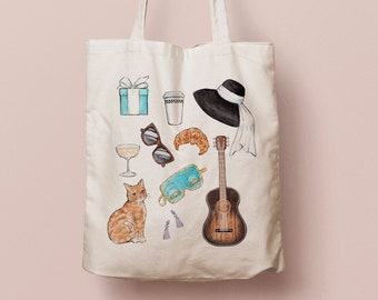 Breakfast at Tiffany's tote bag | canvas bag with a watercolor illustration inspired by the famous movie with Audrey Hepburn