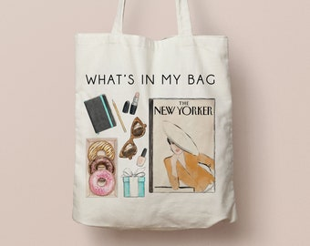 New York tote bag with illustration | Canvas bag with fashion art print, organic cotton | Back to school | donuts, tiffany's, lipstick