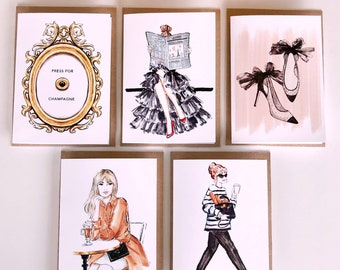 Greeting cards | Paris and French fashion themed | set of 5 | Free shipping