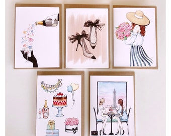 Greeting cards | Birthday and party cards | set of 5 | Free shipping | French style