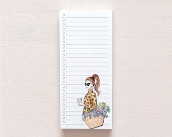 Notepad for to-do list | watercolor fashion illustration | print of girl with flowerbasket, sunglasses and coffee | Stationary | Planner