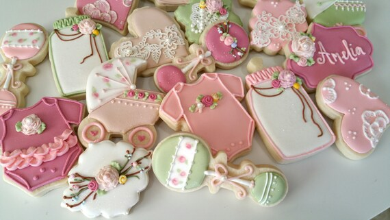 vintage baby shower cookies heart cookies lace cookies girl etsy