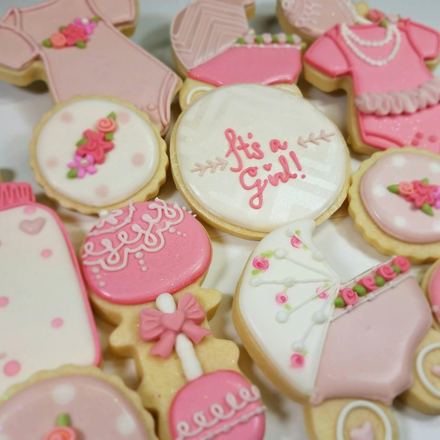 girl baby shower sugar cookies royal icing baby showergirl