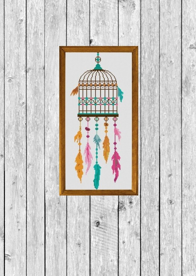 point de croix motif moderne dreamcatcher oiseau cage. Black Bedroom Furniture Sets. Home Design Ideas