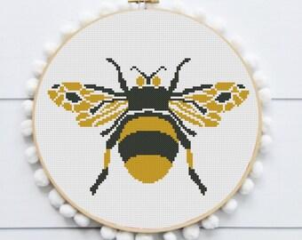 Cross stitch pattern modern bee insect pattern bug cross stitch pdf cross stich funny cross stich pattern
